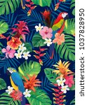 seamless tropical pattern with... | Shutterstock .eps vector #1037828950