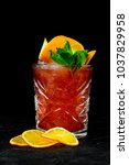 Small photo of alcoholic beverage on a black background