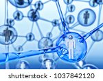 social networking and... | Shutterstock . vector #1037842120