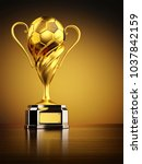gold trophy as championship... | Shutterstock . vector #1037842159