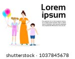 mother with two kids son and... | Shutterstock .eps vector #1037845678