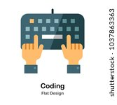 keyboard and hand typing flat... | Shutterstock .eps vector #1037863363