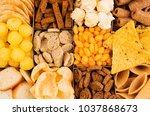 different mexican beer snacks... | Shutterstock . vector #1037868673