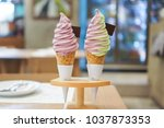 two soft serve ice cream  sweet ... | Shutterstock . vector #1037873353
