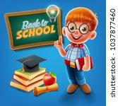 genius kid for back to school | Shutterstock .eps vector #1037877460