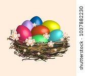 easter eggs in the nest. | Shutterstock .eps vector #1037882230