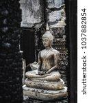 closeup shot at budha statue in ...   Shutterstock . vector #1037882854