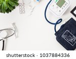 doctors office desk with blood... | Shutterstock . vector #1037884336