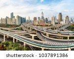 modern city with highway...   Shutterstock . vector #1037891386