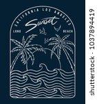 california  los angeles beach... | Shutterstock .eps vector #1037894419