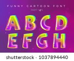kids vector font in cartoon... | Shutterstock .eps vector #1037894440