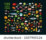 135 organic products. natural... | Shutterstock .eps vector #1037905126