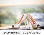 bridal wedding sandal shoes ... | Shutterstock . vector #1037908780