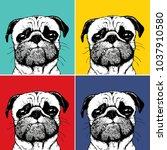 Pug On Pop Art Color Hand Drawig