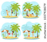 people rest  sunbathe and have... | Shutterstock .eps vector #1037928079