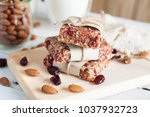homemade raw coconut cranberry... | Shutterstock . vector #1037932723