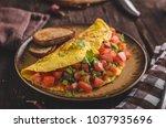 vegetarian omelette  fried... | Shutterstock . vector #1037935696