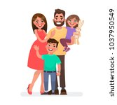 happy young family. dad  mom ... | Shutterstock .eps vector #1037950549