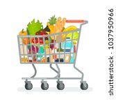 grocery cart from the... | Shutterstock .eps vector #1037950966
