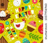 easter bright seamless pattern. ... | Shutterstock .eps vector #1037956960