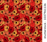 red poppies seamless pattern.... | Shutterstock .eps vector #1037961136