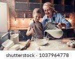 grandmother and granddaughter...   Shutterstock . vector #1037964778
