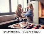 grandmother and granddaughter...   Shutterstock . vector #1037964820