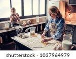 grandmother and granddaughter... | Shutterstock . vector #1037964979