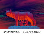 abstract capitoline wolf statue ... | Shutterstock . vector #1037965030