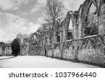 Abbey Ruins In Winter.  Black...
