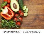 vegetables for fresh salad on a ... | Shutterstock . vector #1037968579