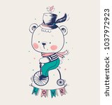 baby bear ridding on a bicycle. ... | Shutterstock .eps vector #1037972923