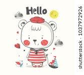 cute bear sailor.cartoon hand... | Shutterstock .eps vector #1037972926