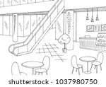 mall cafe graphic black white... | Shutterstock .eps vector #1037980750