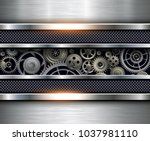technology background  silver... | Shutterstock .eps vector #1037981110