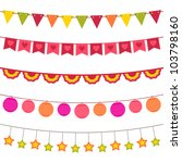 bunting and garland set  jpg... | Shutterstock . vector #103798160