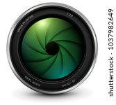 camera photo lens with shutter  ... | Shutterstock .eps vector #1037982649