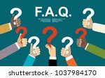 human hands holding question... | Shutterstock .eps vector #1037984170
