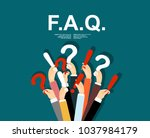 human hands holding question... | Shutterstock .eps vector #1037984179