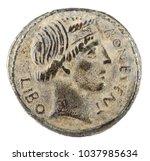Small photo of Roman Republic Coin. Ancient Roman silver denarius of the family Scribonia. Obverse.