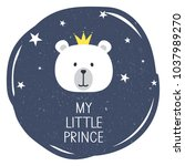 illustration with bear  crown... | Shutterstock .eps vector #1037989270