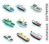 commercial sea ships isometric... | Shutterstock .eps vector #1037989906