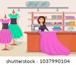 sewing studio banner with young ... | Shutterstock .eps vector #1037990104