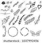 set of hand drawn floral...   Shutterstock .eps vector #1037992456