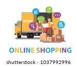 happy  selling products online.... | Shutterstock .eps vector #1037992996