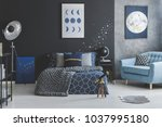 telescope near bed with knit... | Shutterstock . vector #1037995180