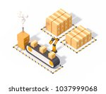 production line using a robotic ... | Shutterstock . vector #1037999068