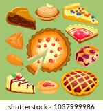 cartoon cakes pie slice fresh... | Shutterstock .eps vector #1037999986