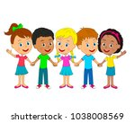 kids little boys and girls are... | Shutterstock .eps vector #1038008569