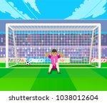 goalkeeper training at gates.... | Shutterstock .eps vector #1038012604